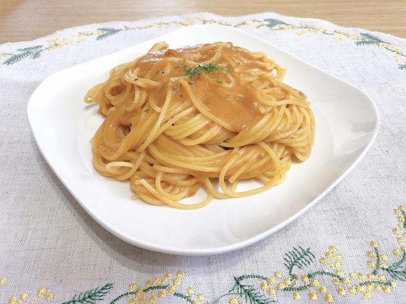 カルディ濃厚ずわい蟹のクリームスープを使ったパスタ